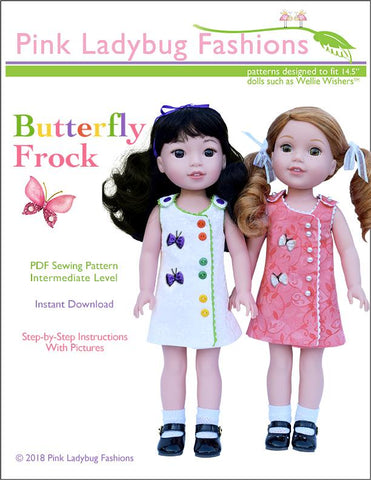 "Pink Ladybug WellieWishers Butterfly Frock 14.5"" Doll Clothes Pattern Pixie Faire"
