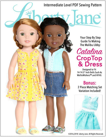 Liberty Jane WellieWishers Catalina Dress and Top 14 - 14.5 inch Doll Clothes Pattern Pixie Faire