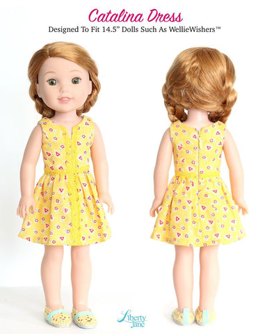 14 to 14.5 inch doll clothes pdf sewing pattern crop top and dress designed to fit WellieWishers and Hearts for Hearts Girls