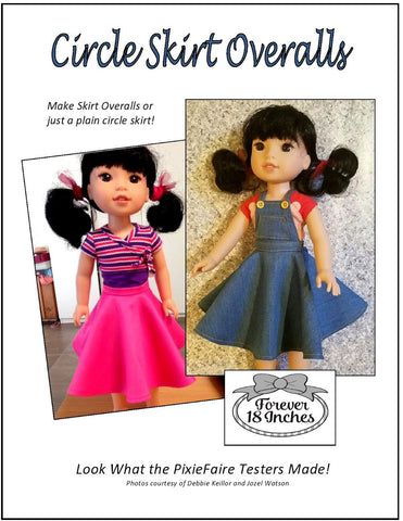 "Circle Skirt Overalls 14-14.5"" Doll Clothes Pattern"