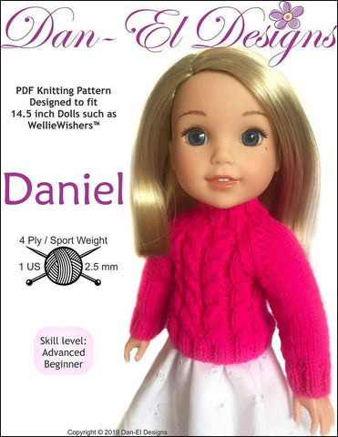Dan-El Designs Daniel PDF knitting pattern designed to fit 14.5 inch WellieWishers dolls