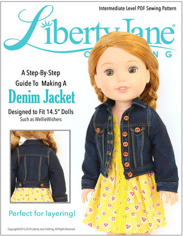 "Liberty Jane WellieWishers Denim Jacket 14.5"" Doll Clothes Pattern Pixie Faire"