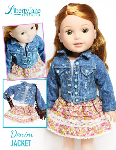 "Denim Jacket 14.5"" Doll Clothes Pattern"