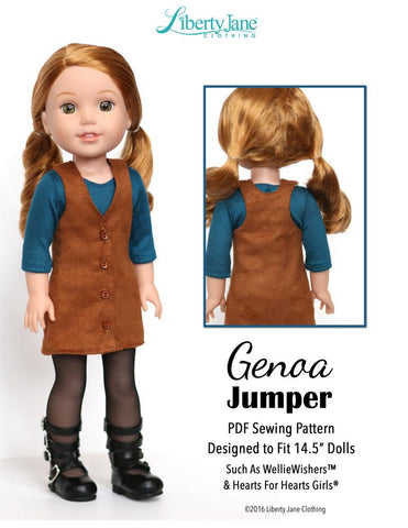 Liberty Jane WellieWishers Genoa Jumper 14 - 14.5 inch Doll Clothes Pattern Pixie Faire
