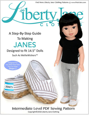 Liberty Jane WellieWishers JANES Shoes 13-14.5 Inch Doll Clothes Pattern Pixie Faire