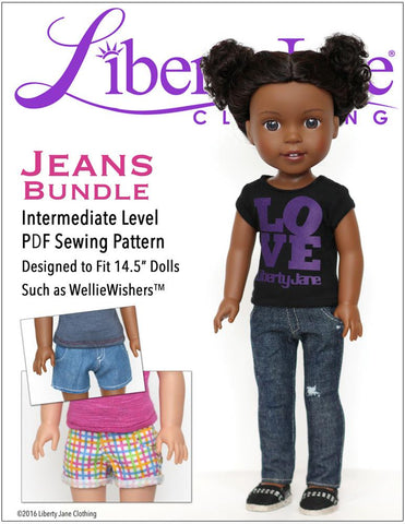Liberty Jane WellieWishers Jeans Bundle 14.5 Inch Doll Clothes Pattern Pixie Faire