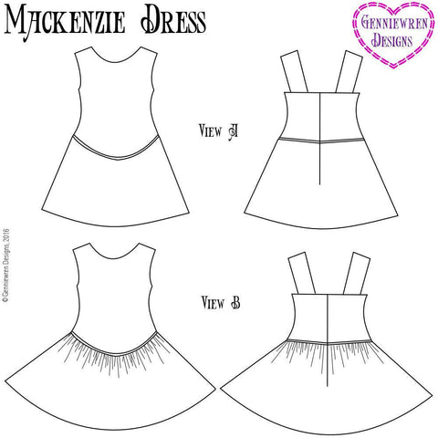 "Mackenzie Dress 14.5"" Doll Clothes Pattern"