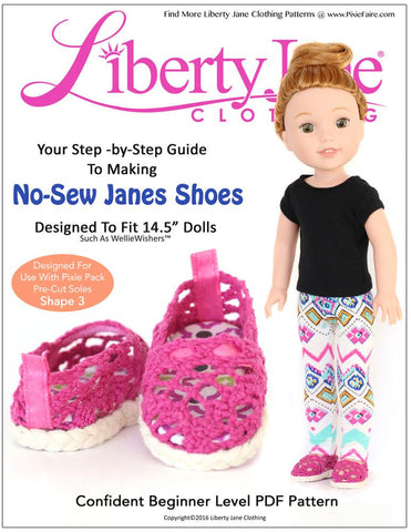 Liberty Jane WellieWishers No Sew Janes Shoes 14.5 Inch Doll Shoe Pattern Pixie Faire
