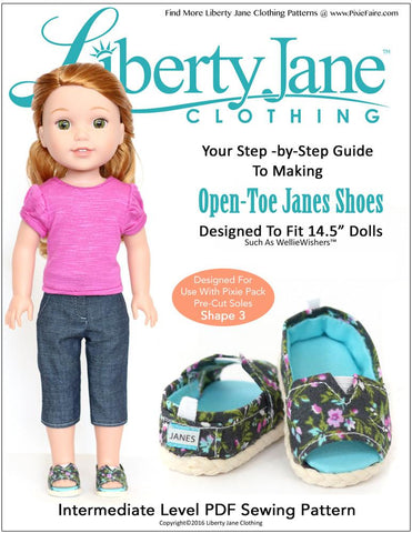 Liberty Jane WellieWishers Open-Toe JANES 14.5 Inch Doll Shoe Pattern Pixie Faire