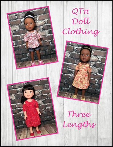 "QTπ Doll Clothing WellieWishers Peek-A-Boo Dress 14.5"" Doll Clothes Pattern Pixie Faire"