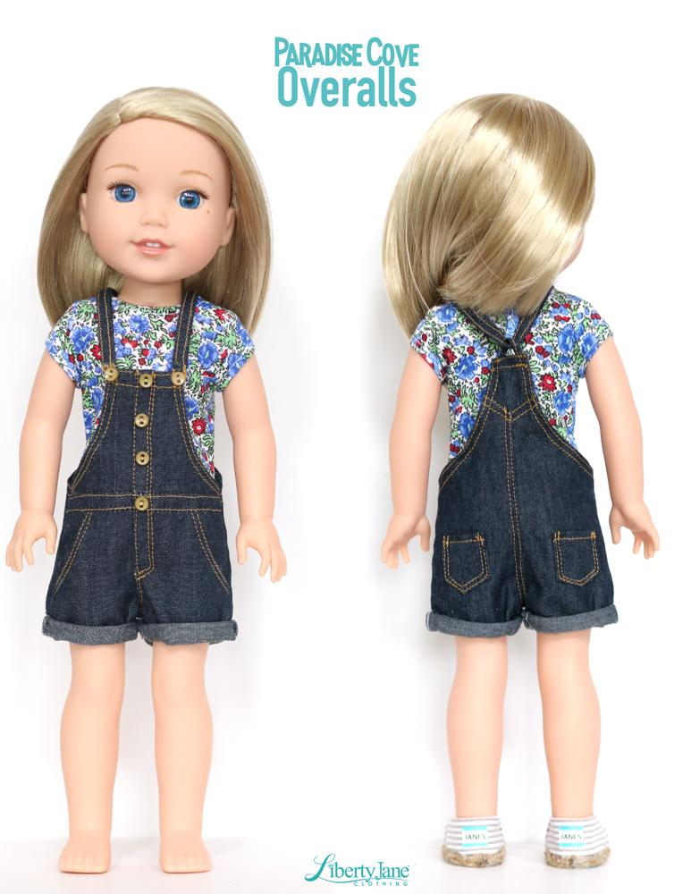 Liberty Jane Paradise Cove Overall Shorts Doll Clothes Pattern for ...