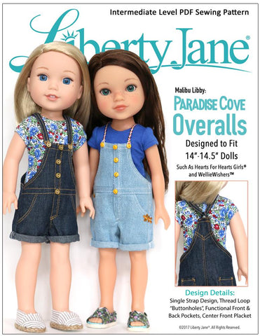 Liberty Jane WellieWishers Paradise Cove Overalls 14 - 14.5 inch Doll Clothes Pattern Pixie Faire