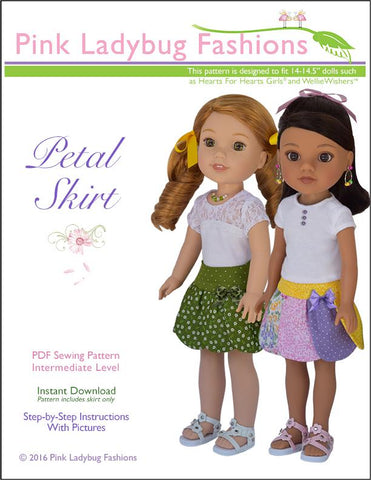 PDF doll clothes sewing pattern Pink Ladybug Fashions Petal Skirt designed to fit 14.5 inch WellieWishers dolls