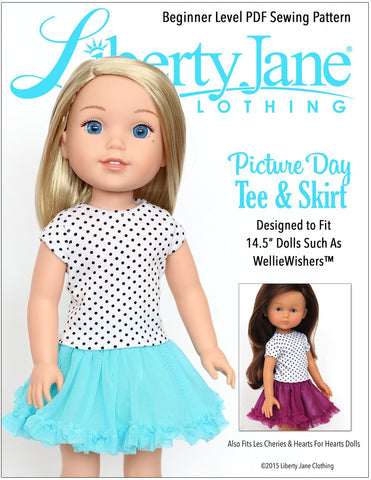 Picture Day Tee and Skirt 14.5 Inch Doll Clothes Pattern