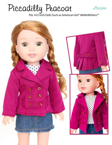 Liberty Jane WellieWishers Piccadilly Peacoat 14.5 Inch Doll Clothes Pattern Pixie Faire