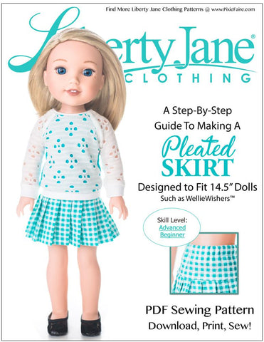 "Liberty Jane WellieWishers Pleated Skirt 14.5"" Doll Clothes Pattern Pixie Faire"