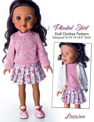"Pleated Skirt 14.5"" Doll Clothes Pattern"