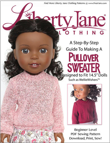 "Liberty Jane WellieWishers Pullover Sweater 14.5"" Doll Clothes Pattern Pixie Faire"