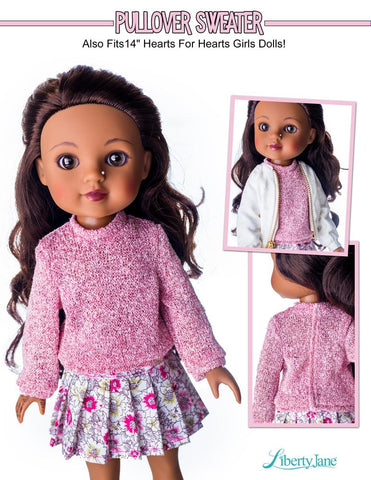 "Pullover Sweater 14.5"" Doll Clothes Pattern"