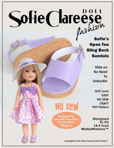 "Sofie's Open Toe Sling Back Sandal 14.5"" Doll Shoe Pattern"