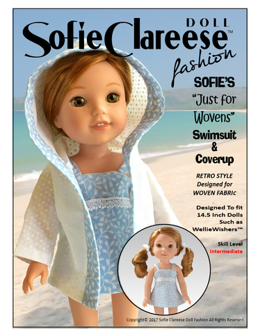 "Sofie's ""Just For Wovens"" Swimsuit & Coverup 14.5"" Doll Clothes Pattern"