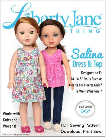 Liberty Jane WellieWishers Salina Dress and Top 14 -14.5 Inch Doll Clothes Pattern Pixie Faire