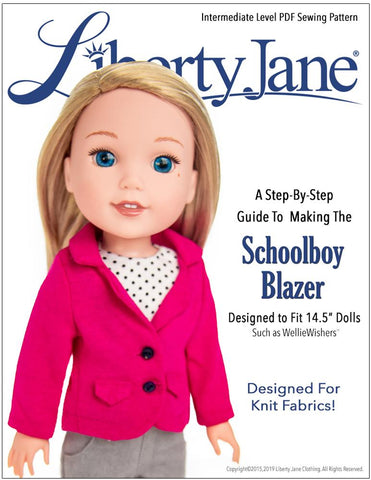 "Liberty Jane WellieWishers Schoolboy Blazer 14.5"" Doll Clothes Pattern Pixie Faire"