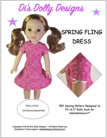 "Di's Dolly Designs WellieWishers Spring Fling Dress 14.5"" Doll Clothes Pattern Pixie Faire"