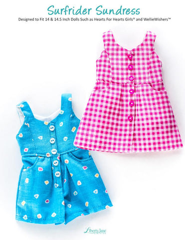 "Surfrider Sundress and Romper 14-14.5"" Doll Clothes Pattern"