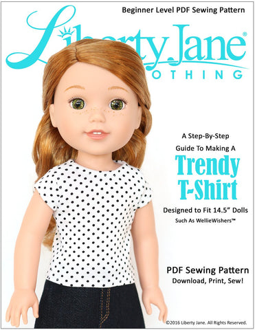 Liberty Jane WellieWishers FREE T-Shirt 14.5 inch Doll Clothes Pattern Pixie Faire