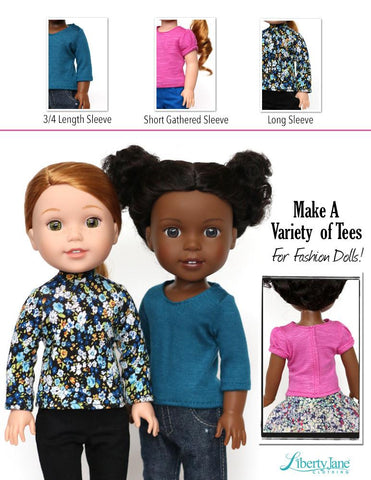 Liberty Jane WellieWishers T-Shirt Variations 14.5 -15 Inch Doll Clothes Pattern Pixie Faire