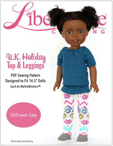 Liberty Jane WellieWishers U.K. Holiday Top and Leggings 14.5 Inch Doll Clothes Pattern Pixie Faire