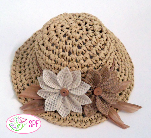 "Springtime Straw Hat Crochet Pattern for 14-14.5"" Dolls"