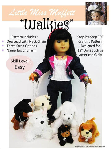 "Little Miss Muffett 18 Inch Modern ""Walkies"" Dog Lead 18"" Doll Pet Accessory Pattern Pixie Faire"