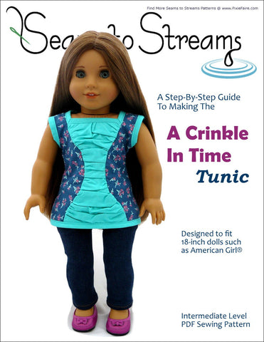 "Seams to Streams 18 Inch Modern A Crinkle In Time Tunic 18"" Doll Clothes Pattern Pixie Faire"