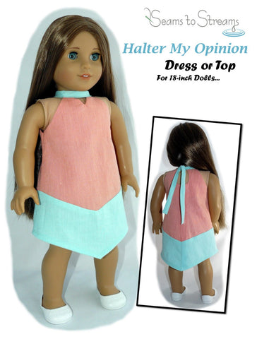 "Halter My Opinion Dress or Top 18"" Doll Clothes Pattern"