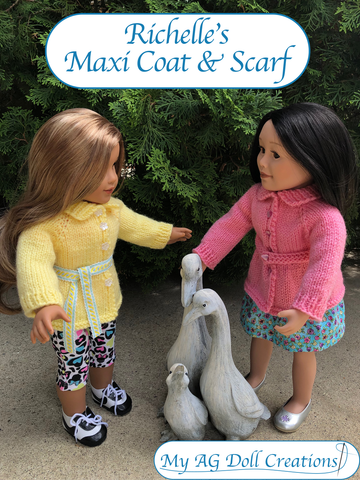 "Richelle's Maxi Coat & Scarf 18"" Doll Knitting Pattern"