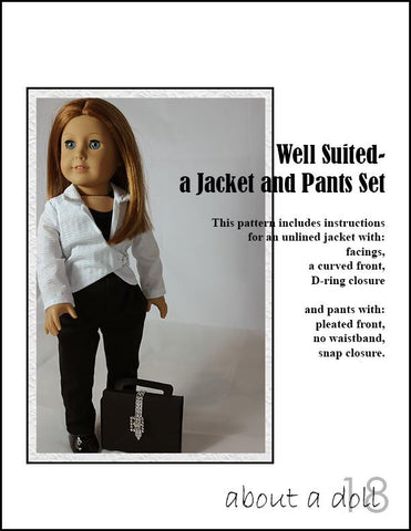 "Well Suited Jacket & Pants Set 18"" Doll Clothes Pattern"