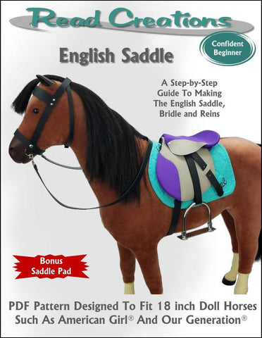 ReadCreations English Saddle pdf sewing pattern designed to fit American Girl doll horses