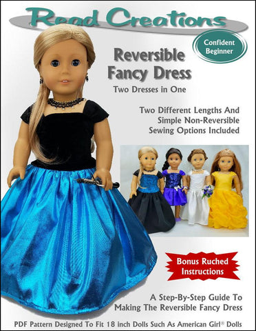 "Read Creations 18 Inch Modern Reversible Fancy Dress 18"" Doll Clothes Pattern Pixie Faire"