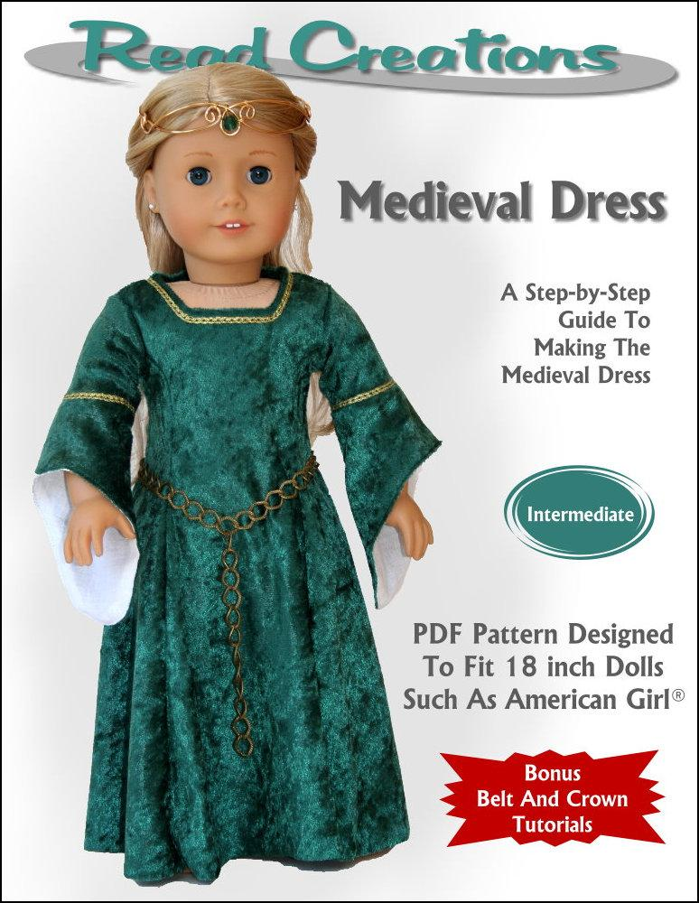 Read Creations Medieval Dress Doll Clothes Pattern 18 inch