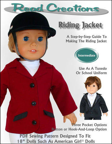 "Read Creations 18 Inch Modern Riding Jacket 18"" Doll Clothes Pattern Pixie Faire"