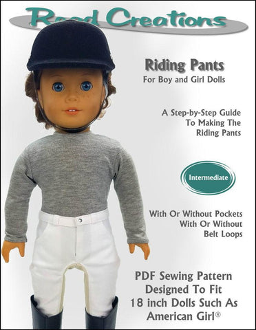 "Read Creations 18 Inch Modern Riding Pants 18"" Doll Clothes Pattern Pixie Faire"