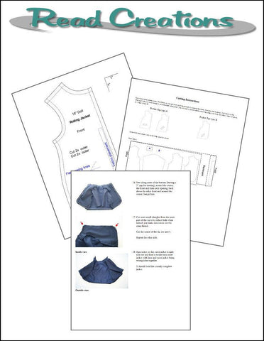Read Creations Riding Jacket PDF sewing pattern designed to fit 18 inch American Girl dolls