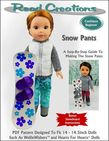 "Snow Pants 14-14.5"" Doll Clothes Pattern"