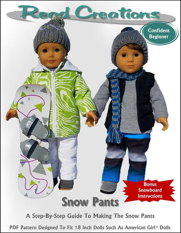 "Snow Pants 18"" Doll Clothes Pattern"