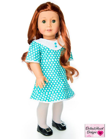 PDF doll clothes sewing pattern DollsatHeart Designs Flutterby Dress designed to fit 18 inch American Girl dolls