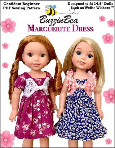 "Marguerite Dress 14.5"" Doll Clothes Pattern"