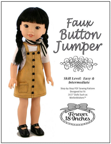 Faux Button Jumper for WellieWishers Dolls