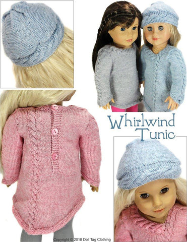 Doll tag Clothing Whirlwind Tunic PDF knitting pattern designed to fit 18 inch American Girl dolls